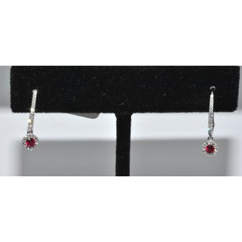 Ruby Diamond Hoop and Dangle