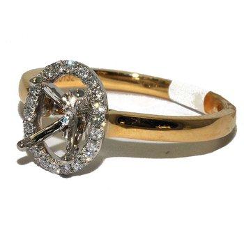14K TT Diamond Halo Eng Ring