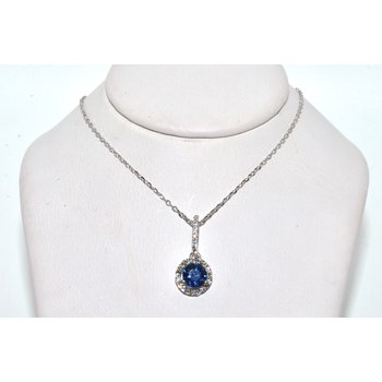 18K White Gold Halo Diamond & Sapphire