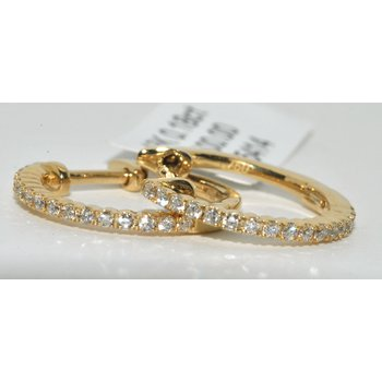 18K Yellow Gold Hoop Diamond Earring
