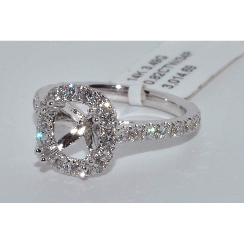 Windy City Signature 14K WG Halo Diamond Eng Ring