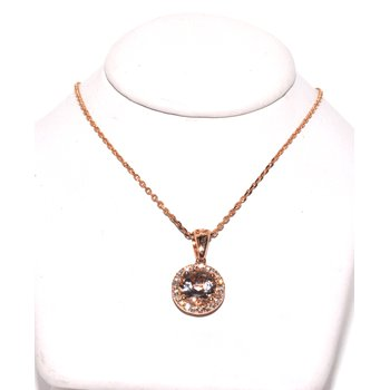 14K Rose Gold Halo Morganite Pendant