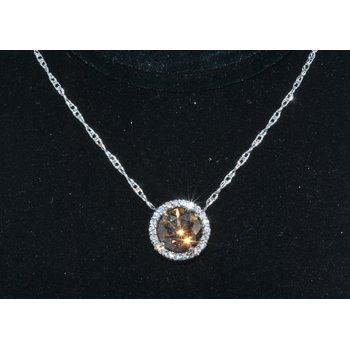 14K WG Diamond & Cognac pendant