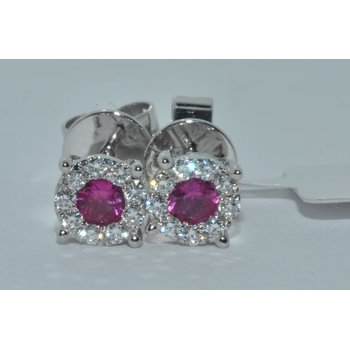 18K WG Diamond & Rubies Earring
