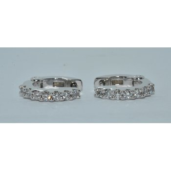 14K WG Diamond Hoop Earring
