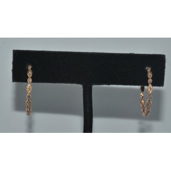 Deco style bead set hoops Rose gold