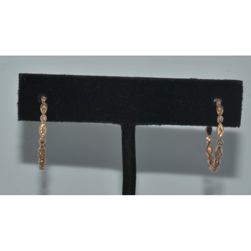 Windy City Signature Deco style bead set hoops Rose gold