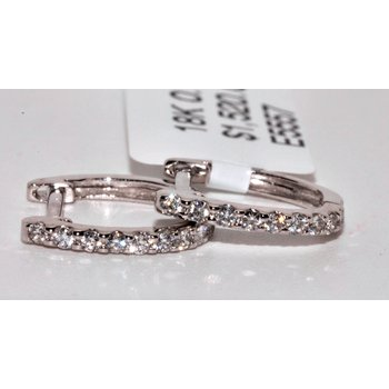 18K White Gold Hoop Diamond Earrings