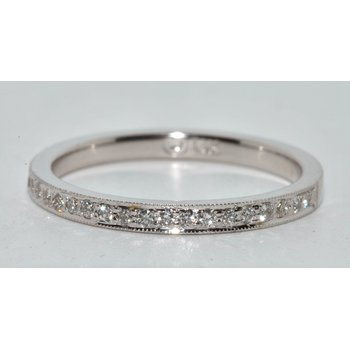 14K White Gold Wedding Band  Bead Set
