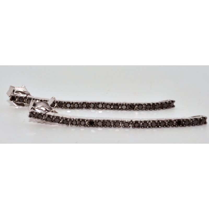 Windy City Signature 14K White Gold Black Diamond Earrings