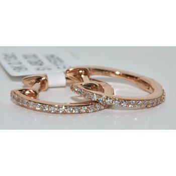 18K Rose Gold Hoop Diamonds Earrings
