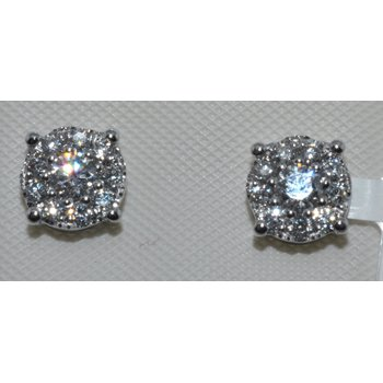 14k WG cluster diamond earrings