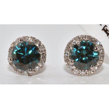 14K White Gold Blue & White Diamonds