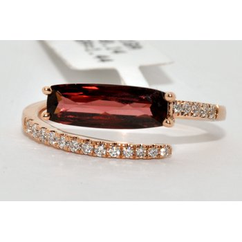 14K Rose Gold Diamond and  Garnet Ring