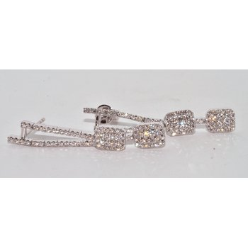 14K White Gold Dangle Cluster Earrings