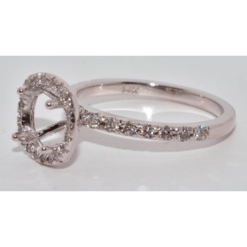 14K WG Halo Diamond Eng Ring