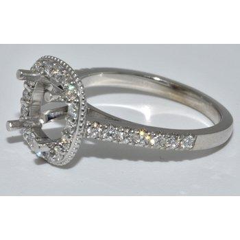 14 K White Gold Halo Engagement Ring