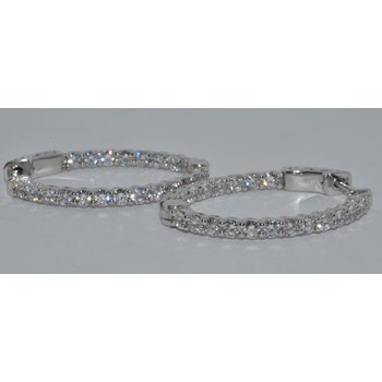 Lds 14K WG Hoop Diamond Earring