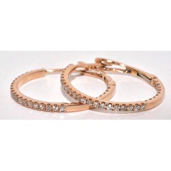14K RG Diamond Hoop Earrings
