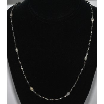 14K WG Black & White Diamond Necklace
