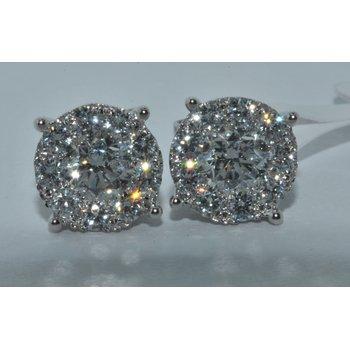 18K WG Diamond Cluster Earring