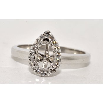 Pear-Shaped Halo Engagement Ring