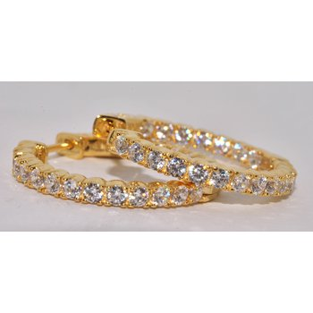 Silver Yellow Gold Plated Round CZ
