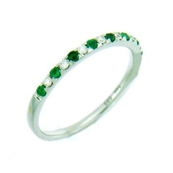 14K White Gold Emerald halfway band
