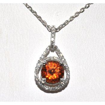 Spessartite Garnet and Diamond pendant i