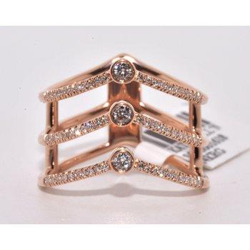 3 Row V-Shaped Diamond Fashion Ring 14k