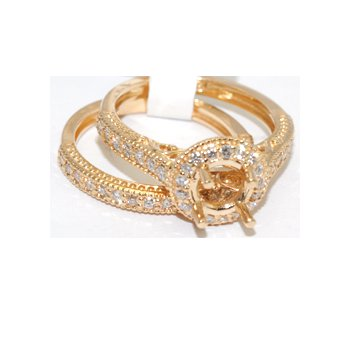Gorgeous yellow gold halo bridal set