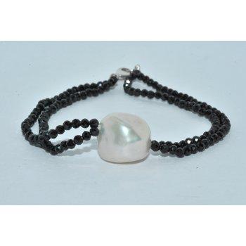 14JK WG Clasp black zircon pearl braclet