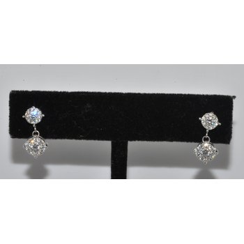 14K WG diamond cluster drop earrings