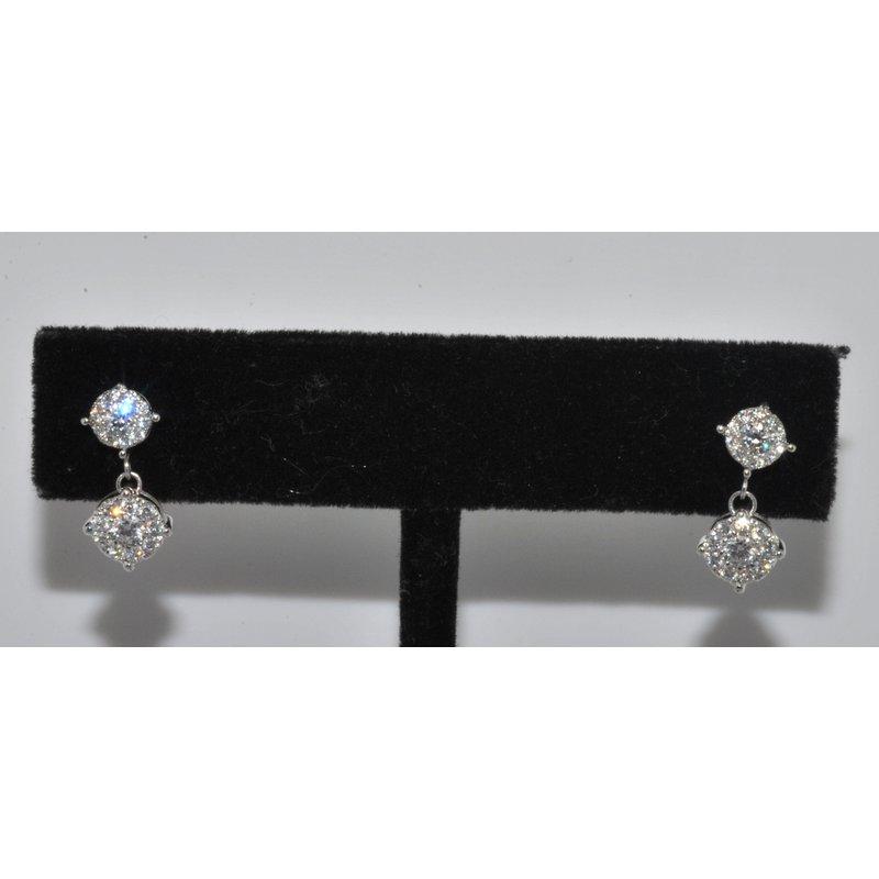 Windy City Signature 14K WG diamond cluster drop earrings