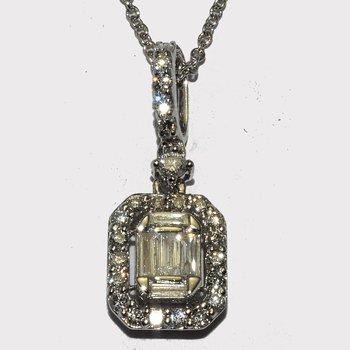Radiant white emerald diamond