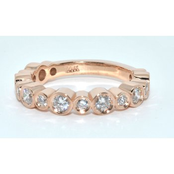 14K Rose Gold Bezel Set Ring Alternating