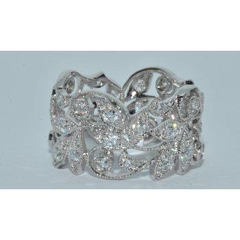14K WG Diamond Leaf Ladys Ring