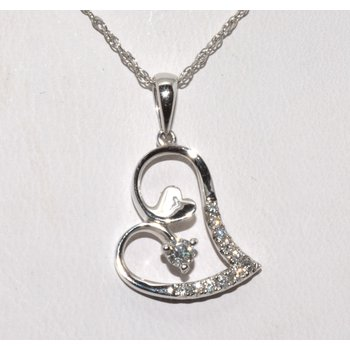18K WG Diamond Heart Pendant