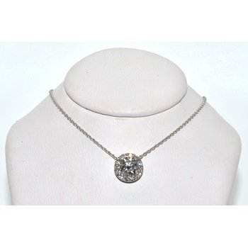 14-Karat White Gold Floating Halo Pendan