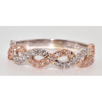 14K Two Tone infinity Diamond Wedding Ba
