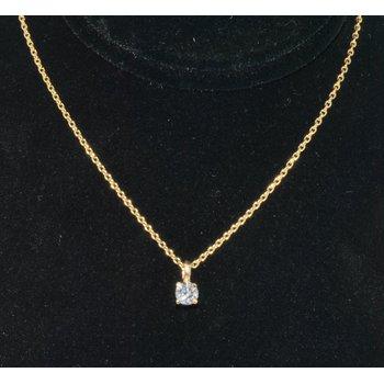 14K YG Diamond Pendant F/VS2 0.22ct