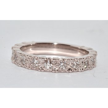 14K White Gold ¾ around Diamonds Wedding