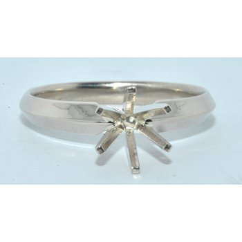 14K WG 6 prong Knife Edge Ring