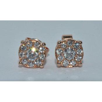 14K RG Diamond Cluster Earring