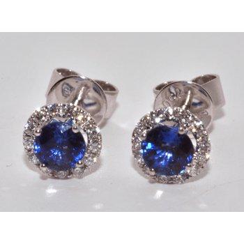 18K White Gold Diamond Halo Earrings