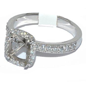 14K WG Cushion Halo Ring