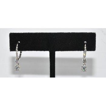 14k WG hoop diamond earrings with Dangle
