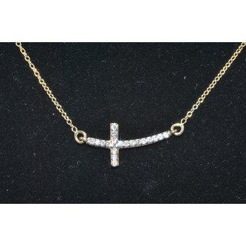 14K YG Diamond Curved Cross Necklace