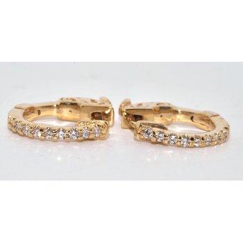 14K Yellow Gold Diamonds Hoops Earrings