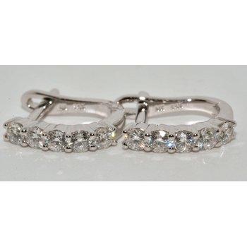 14K White Gold Diamond-Cut hoop earring